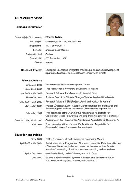 sle of simple personal information curriculum vitae