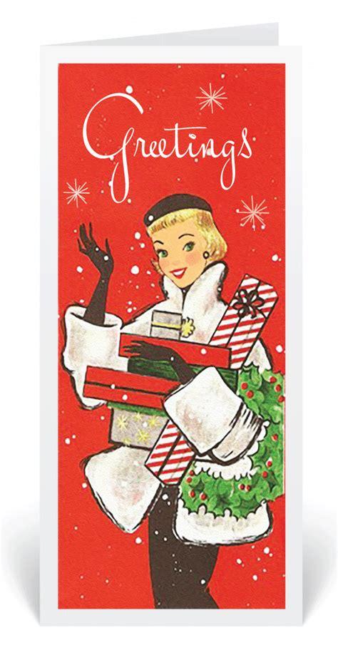 vintage retro  holiday card vintage holiday cards  women retro modern christmas