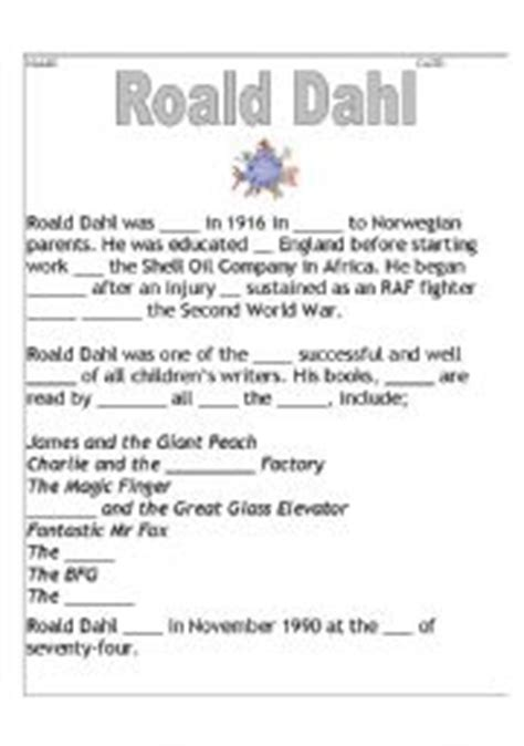 roald dahl biography for students english worksheets roald dahl biography cloze higher