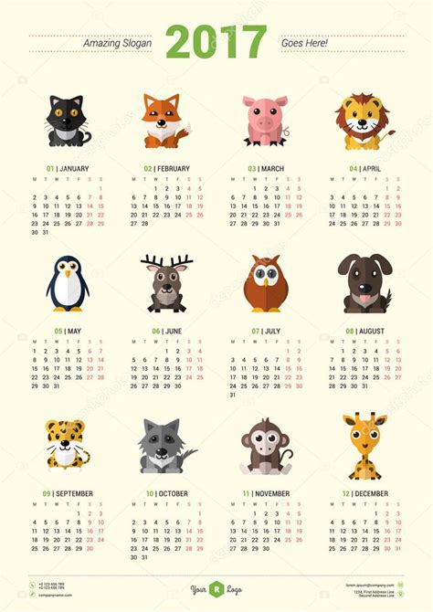 animal print desk calendar printable animal calendar 2017 calendar design template