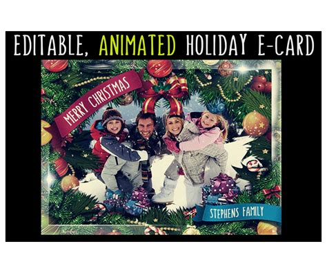 animated christmas card template gif editable greeting ecard  falling snow merry