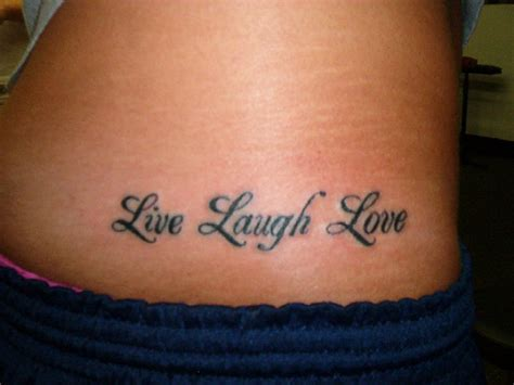 live laugh love tattoo on waist