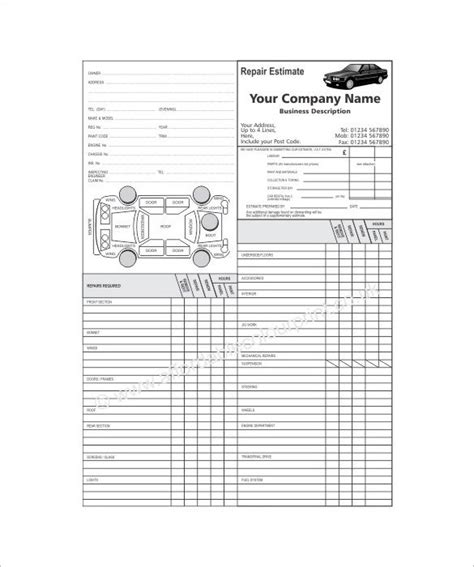 free shop estimate template auto repair estimate template template design