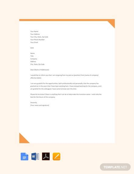 simple resignation letter template word google