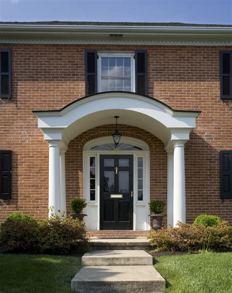 Exterior Arch Portico Front Entry Traditional Entry Philadelphia by Cushing Custom Homes