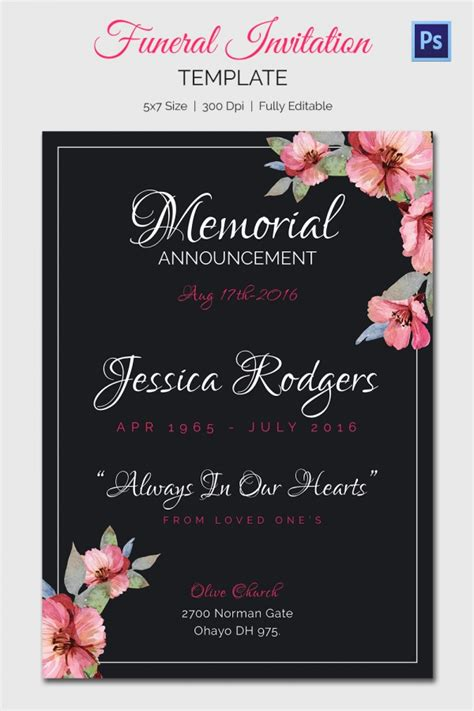 service announcement template funeral invitation template 12 free psd vector eps ai