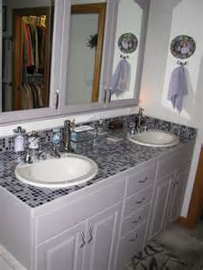 kid s bathroom uses a top sink mosaic glass tile