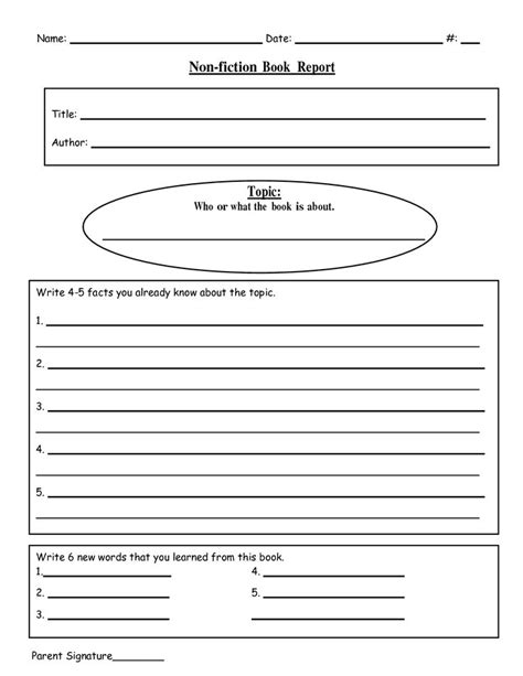 Book Report Writer Free Printable Book Report Templates Non Fiction Book