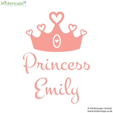 princess wall stickers personalised princess crown wall sticker stickerscape uk