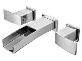 wall mounted waterfall faucets for vessel sinks chrome modern waterfall trough wall mount faucet trim