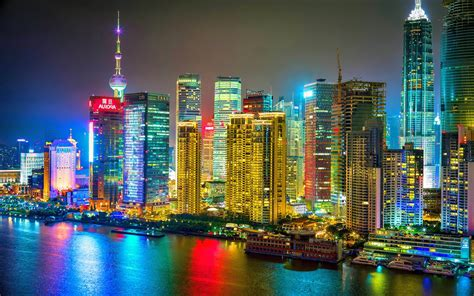 colorful city colorful shanghai city night hd wallpaper
