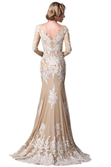 kissbridal 174 women s long sleeve chagne mermaid wedding