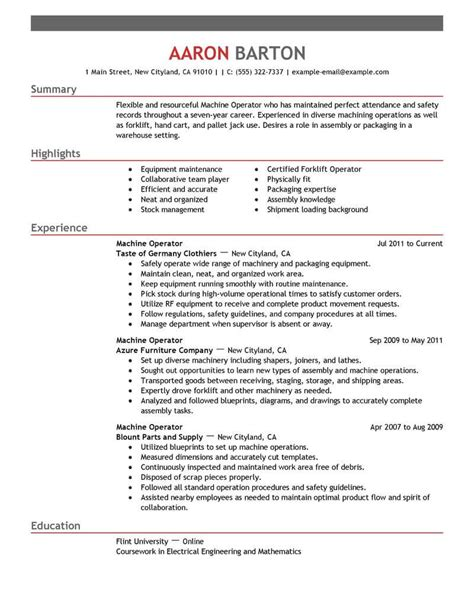 sle resume for machine operator position best machine operator resume exle livecareer