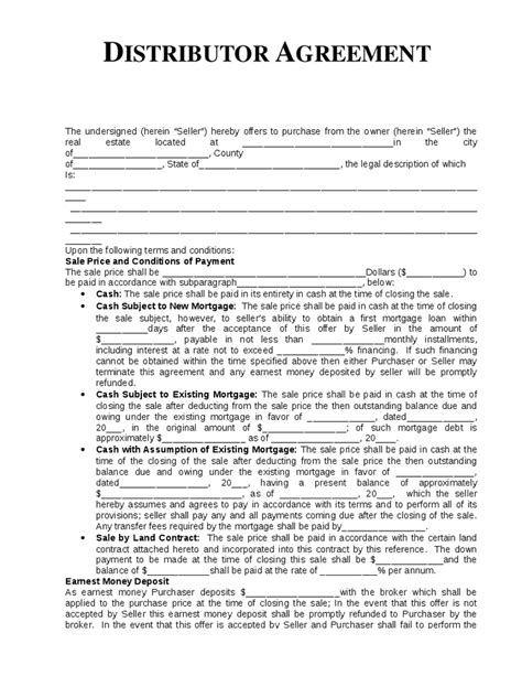 exclusive reseller agreement template 10 best images of distributor of agreement form