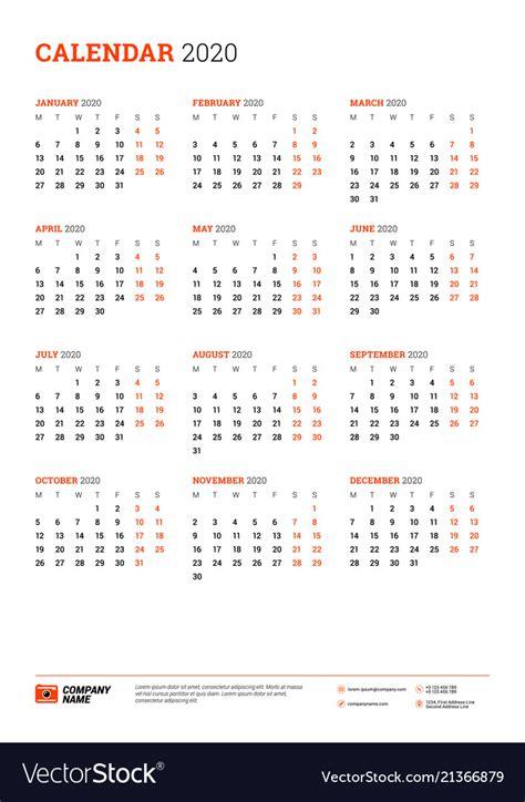 calendar   year week starts  monday vector image