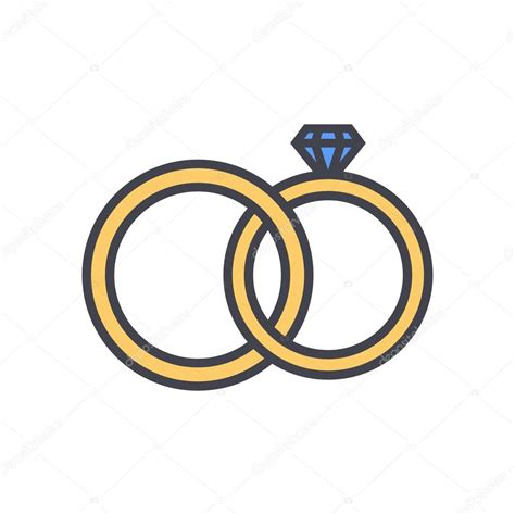 Wedding Ring Flat Design by Wedding Rings Outline Color Icon Modern Minimal Flat