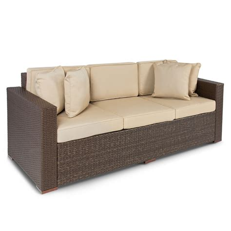 outdoor wicker patio furniture sofa 3 seater luxury