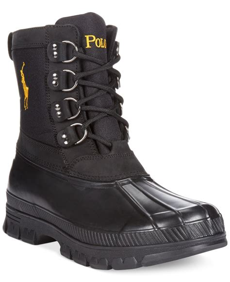 black polo boots polo ralph crestwick boots in black for lyst