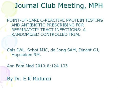 Journal Club Mph March 2010 Authorstream Journal Club Template Ppt