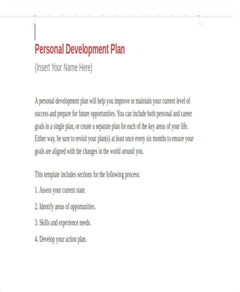 personal business plan template personal business plan templates 6 free word pdf