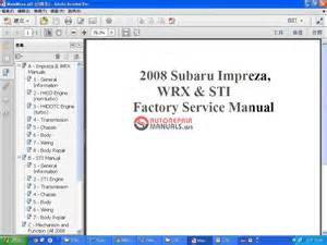 subaru wrx amp sti 2008 factory service manual auto repair