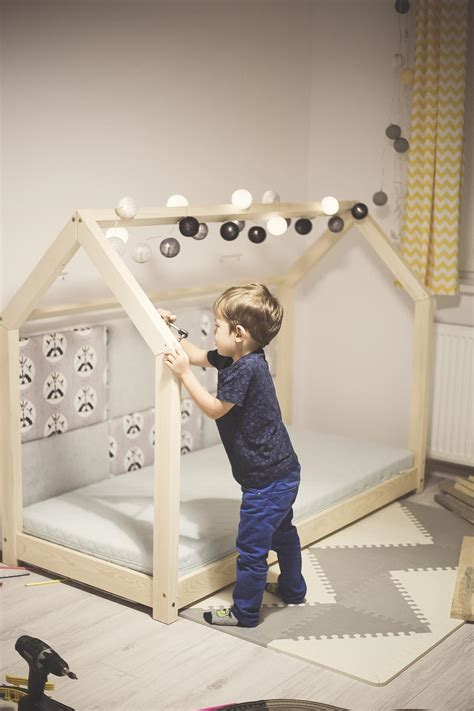 bed house wooden bed house scandinavian design for kids with