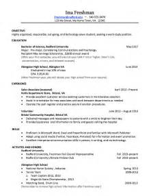 Resume Exles For College Freshmen by College Freshman Resume Sle Resumes Design