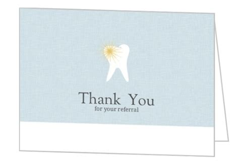 Dental Referral Thank You Cards blue and white tooth dental referral thank you card dentist