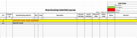 submittal log template how to create a shop drawings log with sle file