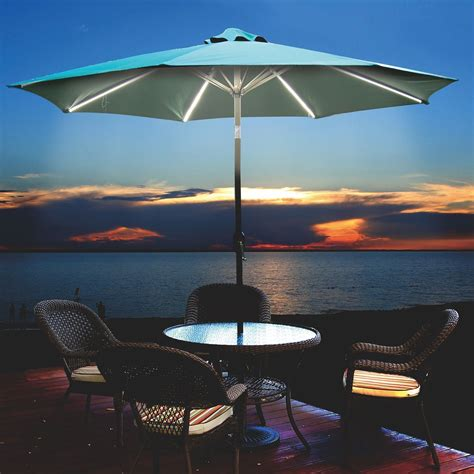 Lighted Patio Umbrellas Ultra Brite Ultra Brite Outdoor 430 Led Lighted Patio Umbrella 9 Warm White Leds 162695