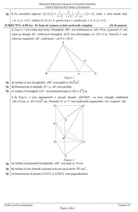 evaluarea națională 2016 subiecte și barem matematică edu ro