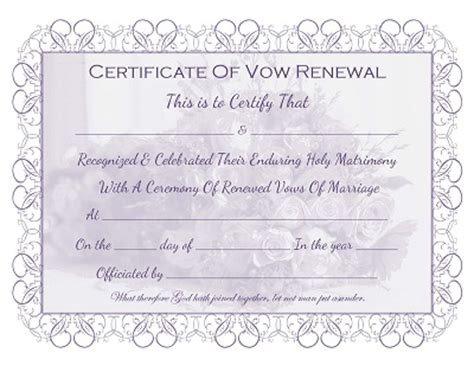 template certificate renewal of vows images