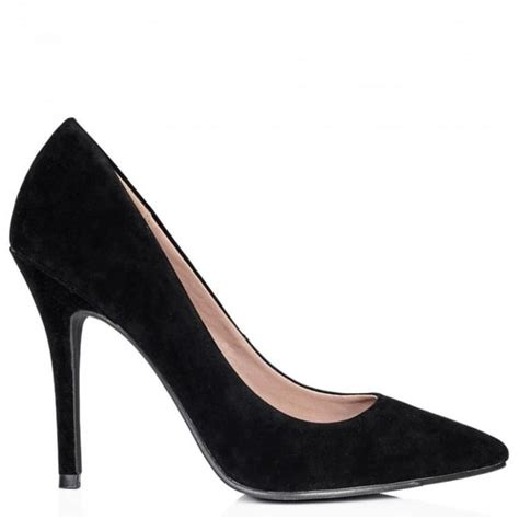 buy moku stiletto heel pointed toe court shoes black suede