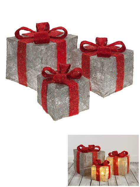 Light Up Presents by Set Of 3 Led Light Up Present Gift Box