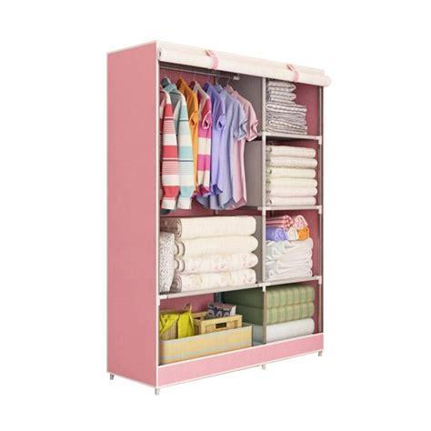 Lemari Pakaian Portable jual lemari pakaian portable 2 layer pink harga kualitas terjamin blibli