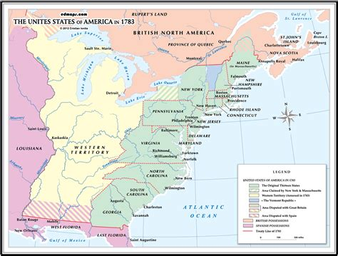 map of the united states in 1783 usa 1783
