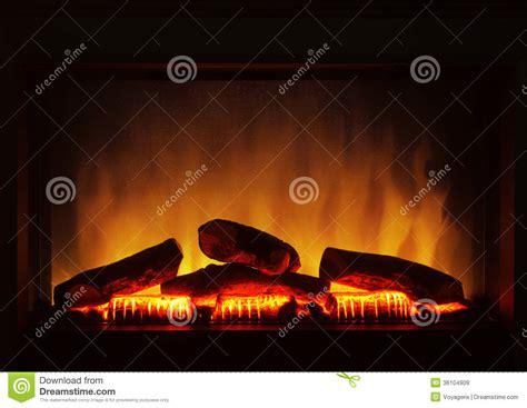 closeup of electric artificial fireplace orange