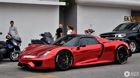 chrome porsche chrome red porsche 918 spyder flaunts its weissach package
