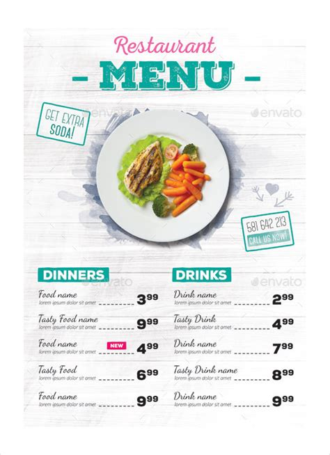 one page menu template 30 restaurant menu templates free sle exle