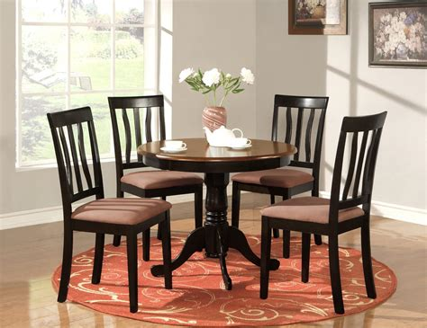 5 pc round table dinette kitchen table 4 chairs oak ebay