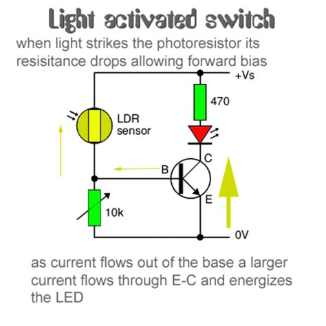 photoresistor properties light activated switch circuit working with applications