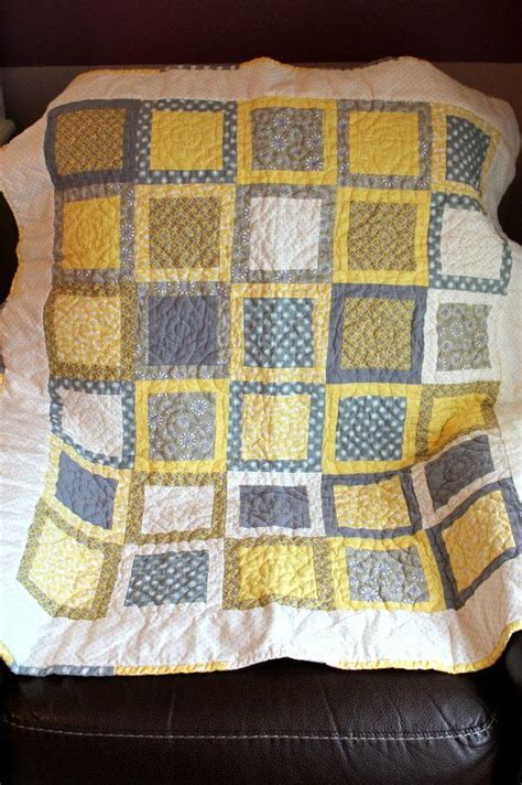 yellow and grey baby quilt