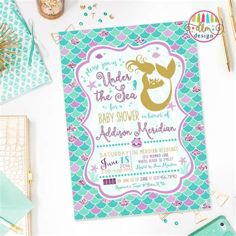 Mermaid Baby Shower Invites by The Sea Baby Shower Ideas Baby Ideas