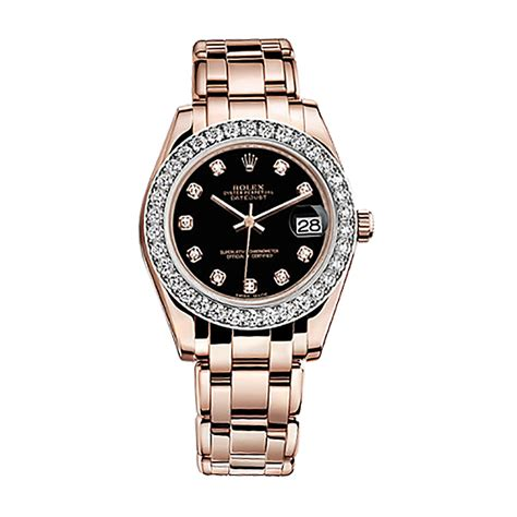rolex angka black rosegold rolex pearlmaster 34 81285 gold black set with