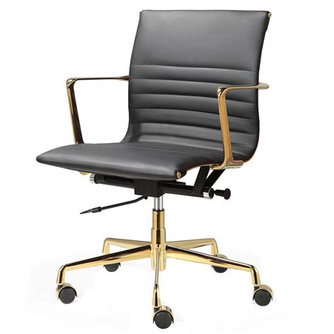 black and gold desk chair black italian leather gold m346 modern office chairs
