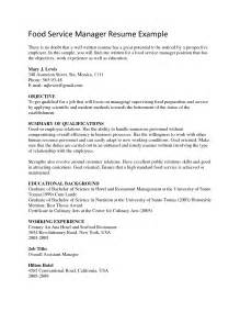 food service manager resume sle fast food manager resume