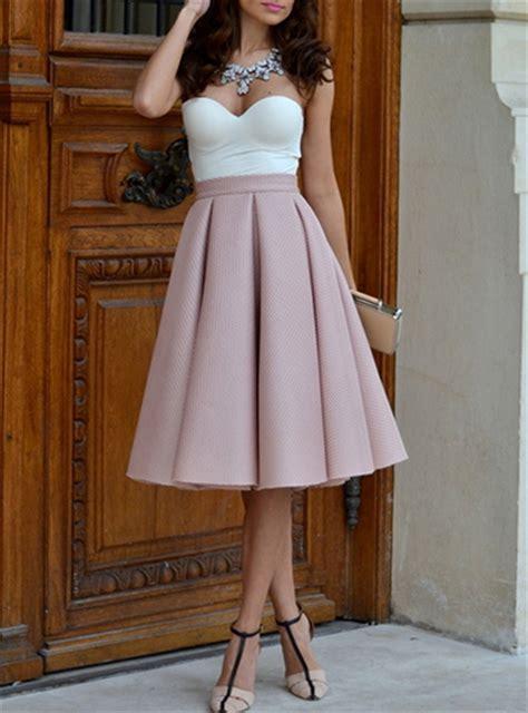High Waist Pleated Dress pink pleated skirt midi length high waisted