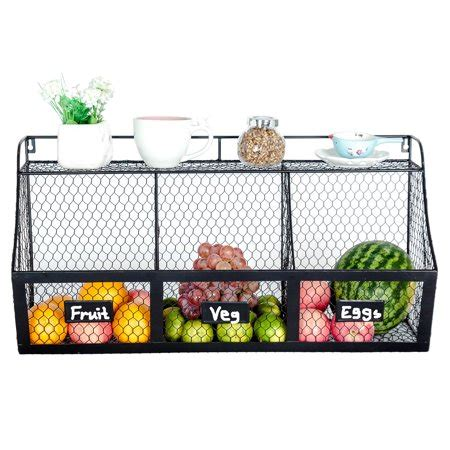 3 compartment wall mount metal storage basket large