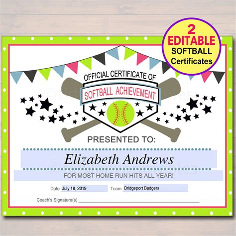 softball certificate templates editable softball certificates instant softball