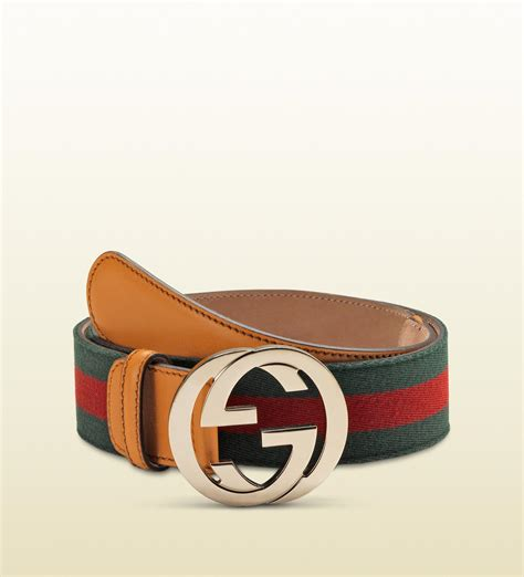 lyst gucci signature web belt with interlocking g buckle in green for